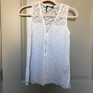 The Kooples White Lace Zip Tank